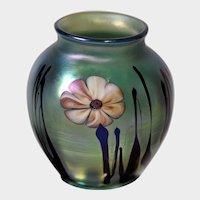 Josh Simpson Art Glass Floral Paperweight Vase c1980