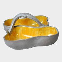 STANGL POTTERY Double Pear Shaped Dish w/Handle, No. 3782, Gray & Orange
