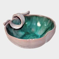 STANGL POTTERY - Eggplant Shaped Dish w/Handle, No. 3785, Gray & Green