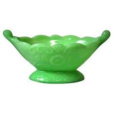 "McKee Glass Jadeite ""Autumn"" Pattern Compote Bowl w/Scroll Handles"