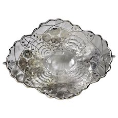 Cambridge Glass Caprice Silver Overlay Lily of the Valley Pattern Bowl