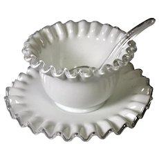 Fenton Silver Crest Glass White Mayonnaise Set, No. 7203