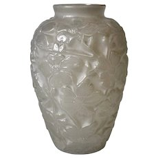 Phoenix Art Glass Sculptural Glass Wild Rose Vase in Frosted White Finish