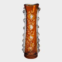 BOHEMIA ART GLASS Vase, Cut-to-Clear Amber with Floral Decor