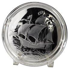Lalique Glass Ship's Ashtray