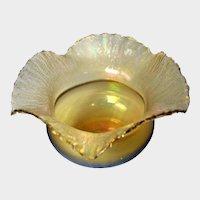 Poschinger Iridescent Gold Art Glass Bowl with Ruffled Rim
