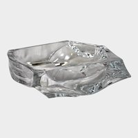 DAUM CRYSTAL Mid-Century Modernist Freeform Centerpiece Bowl