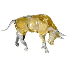 Vintage Murano Gold Aventurine Glass Wall Street Bull Figurine