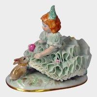 Irish Dresden Figurine - Spring - Little Girl with Rabbit & Eggs