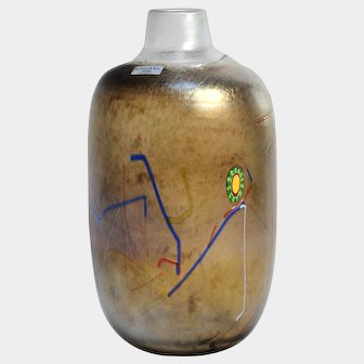 KOSTA BODA Glass TORNADO Flaska Bottle Vase by Bertil Vallien, c1983, Sweden