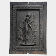 Figural Semi-Nude Maiden, Stove Plate Fireplace Fireback Panel, Cast Iron, c1890's