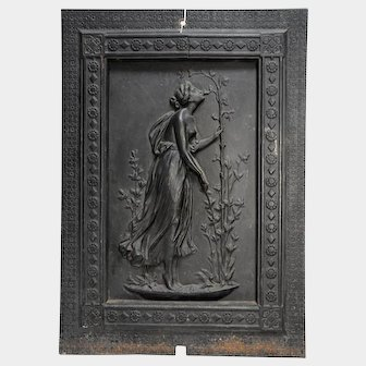 Figural Semi-Nude Maiden, Stove Plate Fireplace Fireback Panel, Cast Iron, c1890's