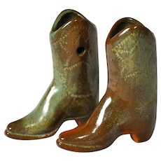 Miniature Frankoma Pottery Western Boots Wall Pockets in Prairie Green
