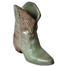 Frankoma Pottery Western Boot Vase, #133 in Prairie Green