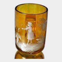 Mary Gregory Bohemia Victorian Art Glass Small Mug