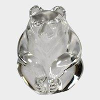 """Steuben Art Glass Hand Cooler""""Bear"""" by Lloyd Atkins"""