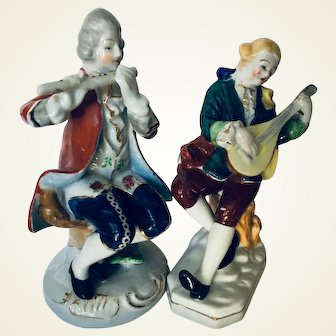 Set of two porcelain musicians playing Mandolin and Piccolo made in Occupied Japan