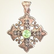 Ornate Jerusalem Cross pendant with Peridot colored stone marked Silver 900