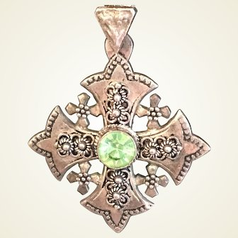 Ornate Jerusalem Cross pendant with Peridot colored stone marked Silver 900