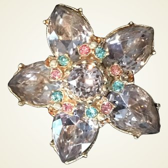 Five petal Brooch with large lavender rhinestones accented by pink & topaz rhinestones by Coro