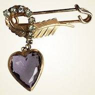 Kilt pin with leaf, simulated diamonds and purple heart shape stone