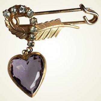 Kilt pin with leaf, simulated diamonds and purple heart shape stone