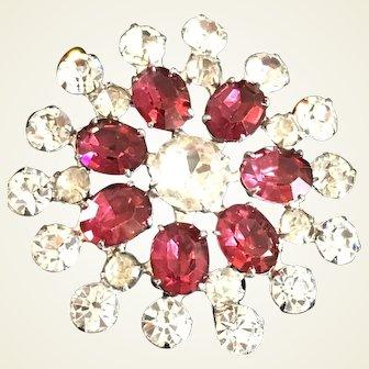 Fuchsia/dark pink and clear rhinestone brooch/pendant by Weiss Co N.Y.