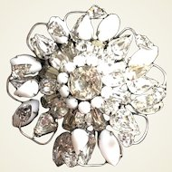 Rare  milk glass and clear rhinestone brooch by Original by Robert