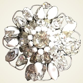 Round ornate milk glass and clear rhinestone brooch by Original by Robert