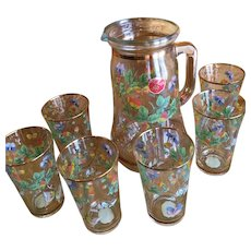 Decorated Italian Pitcher and glass set made by Ardalt
