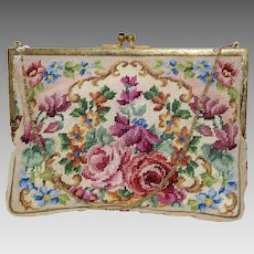 Vintage Small Wiener Studio Smejkal Needlepoint Purse with Floral Design