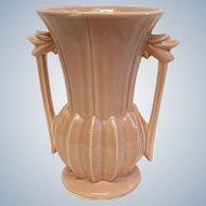 1950's McCoy Pottery Salmon Pink Double Handle Vase