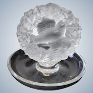Lalique R France Crystal Bird with Wreath Ring Tray