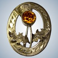 Vintage Sterling Silver Scottish Thistle Kilt Brooch Pin with Orange Stone
