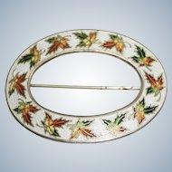 Vintage Enamel Leafs Sterling Oval Shape Brooch Pin