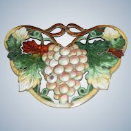 Vintage Enamel Grapes with Leafs Sterling Brooch Pin
