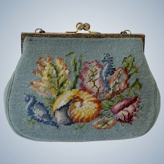 Vintage Needlepoint Purse Turquoise with Floral Design
