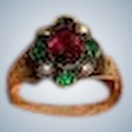 Victorian 14K Gold Hallmark Ring with Purple Sapphire, Emeralds and Seed Pearls