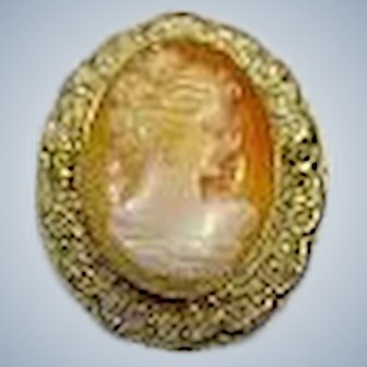 Birks Shell Cameo Brooch Pin Sterling and Gold Wash