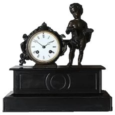 Antique French Marble Mantle Clock Napoleon III
