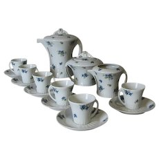 Art Deco Limoges Coffee Set decorated with Blue and White Flowers, Pre 1933