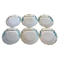 French Asparagus Plates, Majolica, 6 Plates by Fives Lille