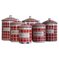 1930s Set of 6 French Enamel Canisters Red and White Plaid.  Farmhouse Country Decor