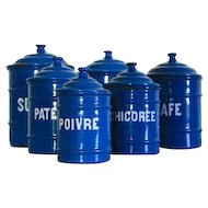 1930s Enamel Kitchen Canister, Shabby Chic Set of 6 Pretty Blue Canisters.