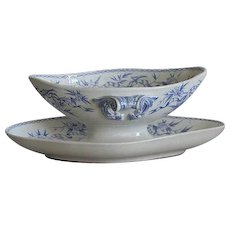 1900s French Sauce Boat/ Bowl in Blue and White  Transferware
