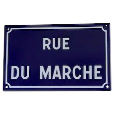 French Vintage Porcelain Street Sign, Market Street