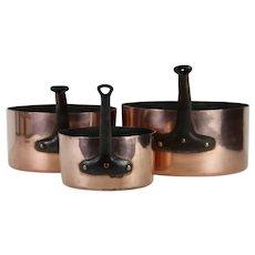 Set of 3 ENORMOUS, RARE French Antique Copper Pans, Huge Saucepans