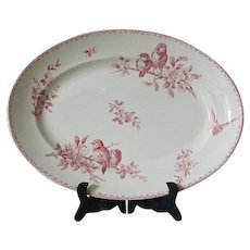 Antique French  Red Transferware Oval Serving Platter, Favori by Sarreguemines