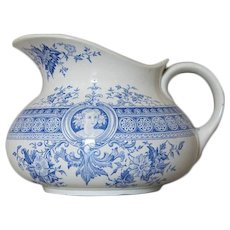 "Antique French Blue Transferware Jug ""Parisia"" by SARREGUEMINES c.1895"