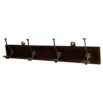 """French Vintage Hat Rack, Farmhouse Wood and Metal Coat Hook with 4 PEGS 31.5"""""""